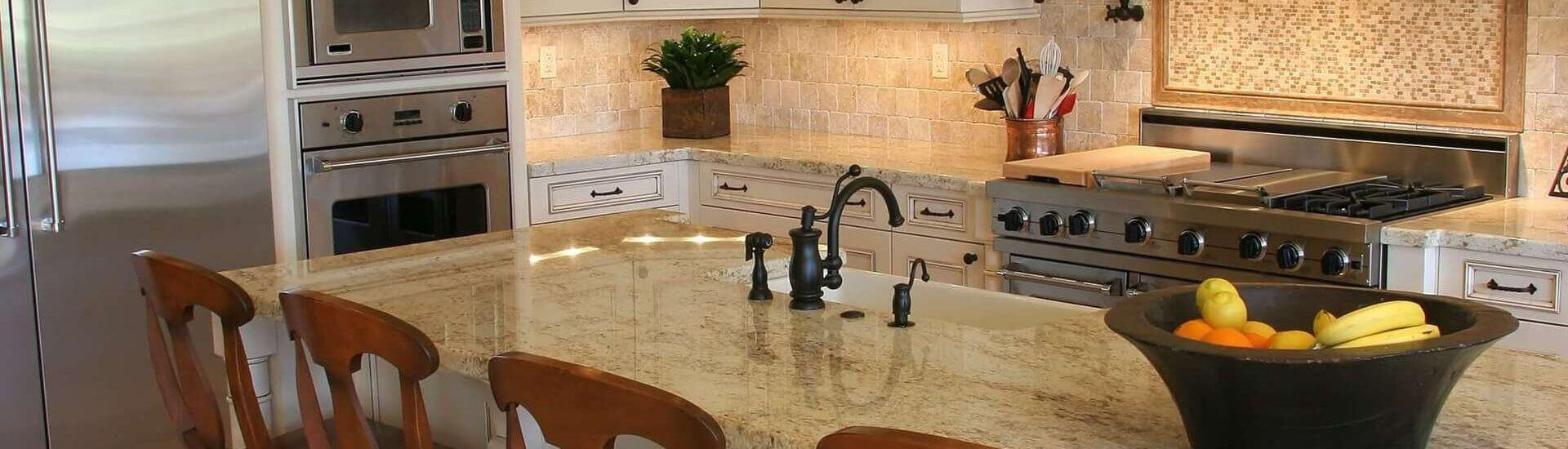 A modern, luxury kitchen.
