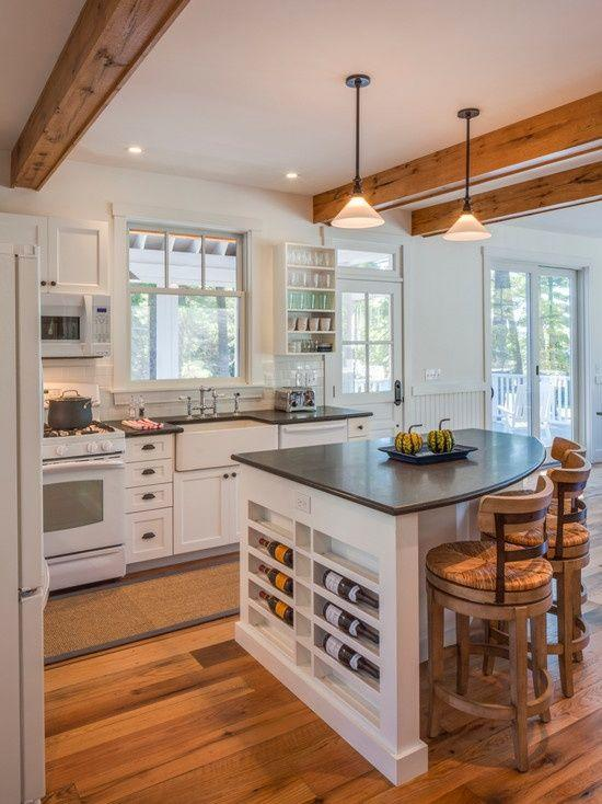 White Kitchen Cabinets In Country Style Kitchen