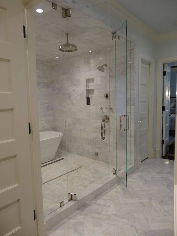 Large shower with tub inside - Custom Bathroom Remodel San Diego