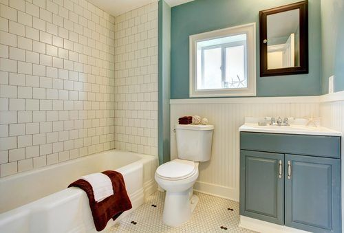 Classic Blue Bathroom with White Tiles - Bathroom Remodeling Encinitas
