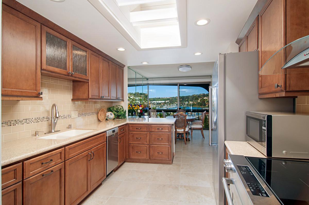 small galley kitchen overlooking La Jolla