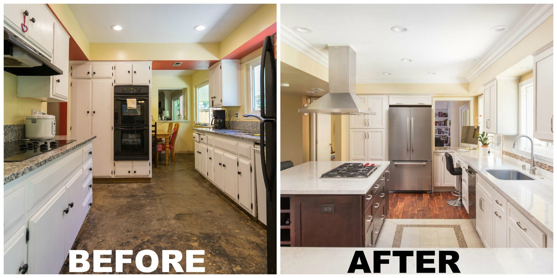 kitchen remodel before and after image changing to an open concept kitchen