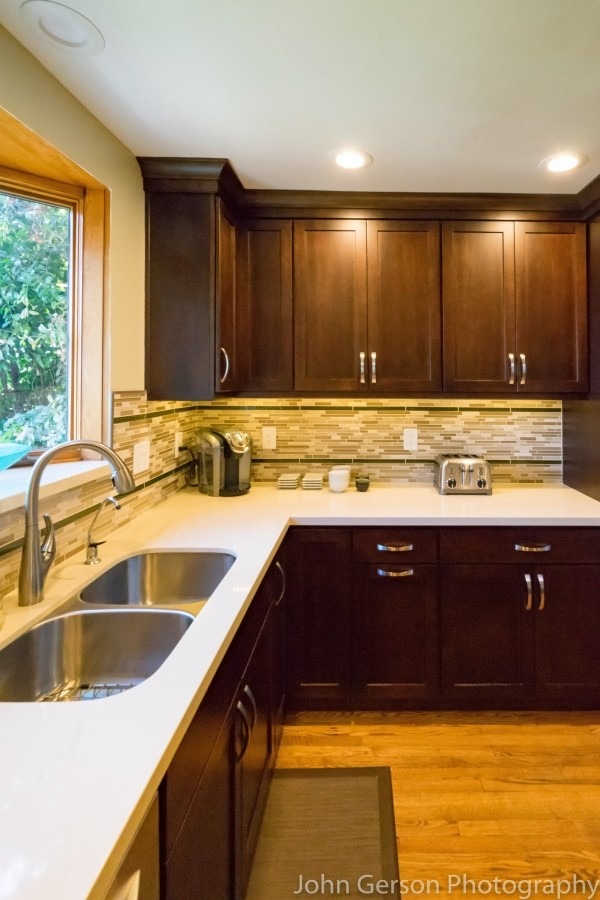 dark wood cabinets installed by kitchen remodel contractor classic home improvements
