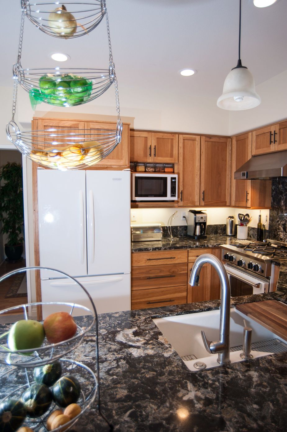 Beautiful White Appliances In A Small Kitchen Remodel With Light Kitchen Cabinets And  Dark Countertops. Kitchen Contractor Classic Home Improvements