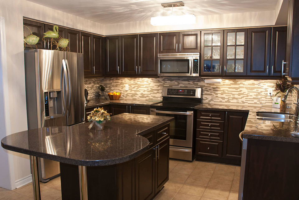 Black And Brown Kitchen Cabinets